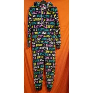 Love hooded pajama onesie size small